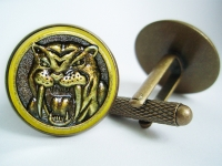 """Power Ranger Yellow Saber-Toothed Tiger Coin"" Cufflinks"