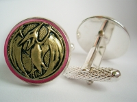 """Power Ranger Pink Pterodactyl Coin"" Cufflinks"