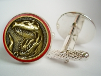 """Power Ranger Red T-Rex Coin"" Cufflinks"